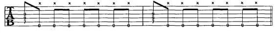 глушение струн гитары правой рукой