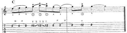 продолжение мелодии тэппингом на одной струне