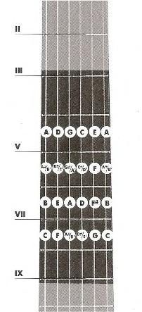 Расположение нот в пятой позиции на грифе