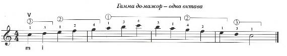 Гамма До-мажор одна октава для гитары