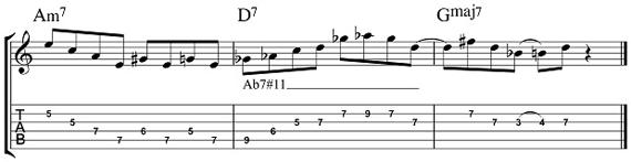 Тритоновая замена в арпеджио аккорда 7#11 табы