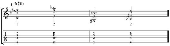 7#11 Пример 2 для нижних струн