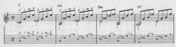 пример арпеджио на акустической гитаре