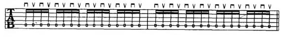 шестнадцатые ноты на электрогитаре