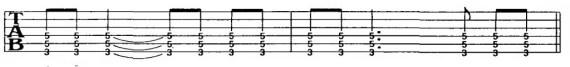 упражнение для гитары с четвертями с точкой