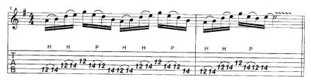пассаж 16-ми нотами на трех струнах