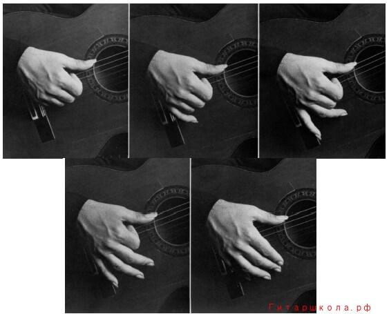 Четырёхзвучное расгеадо. Большой палец опирается на 6-ую струну.