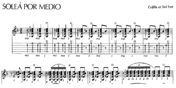 Ноты фламенко для гитары Soleá por medio