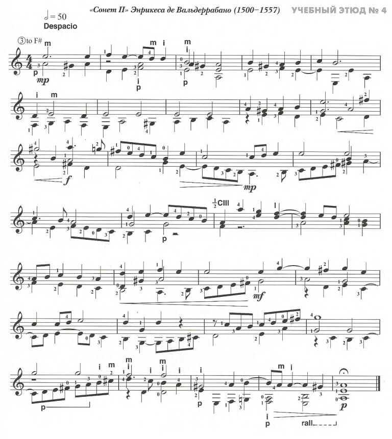 Учебные этюды для классической гитары