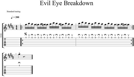 Кусок из композиции Evil Eye на одной струне