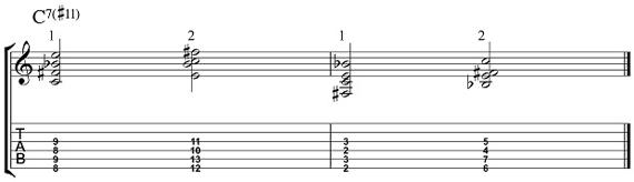 7#11 для нижних струн