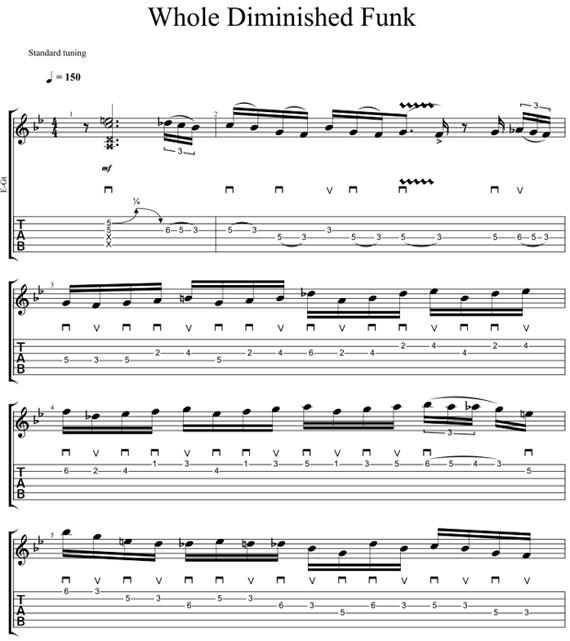 Играть пентатоническую гамму 16-ми нотами в стиле фанк