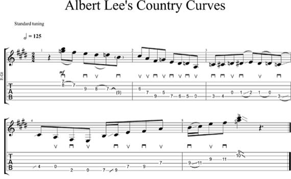 Табы упражнения curves от Альберта Ли