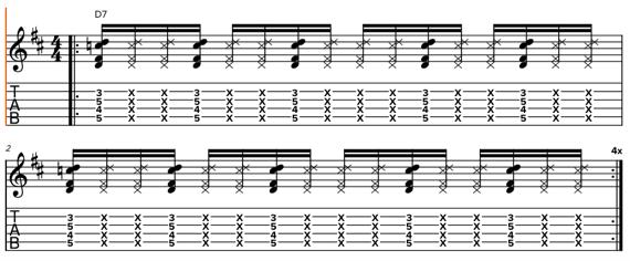 Фанковый ритм на гитаре шестнадцатыми нотами