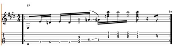 Фанковый ритм с шестнадцатыми, паузами и глушением