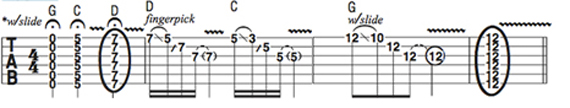 Пример использования строя open G на гитаре