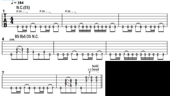 Интересный рифф для гитары в стиле Pantera