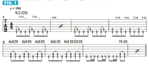 Риффы для гитары в строе дроп д