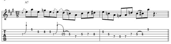 Блюзовая фраза гитариста Ти-Боун Уокера