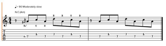 Упражнение на технику переката на гитаре