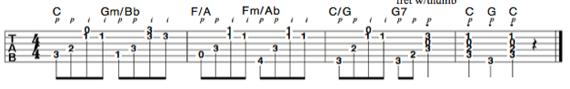 Пальцевый стиль с обращением аккордов в открытой позиции