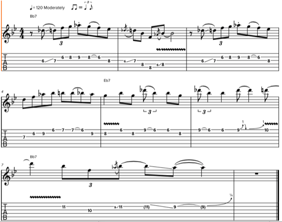 простое арпеджио Bb7 на гитаре