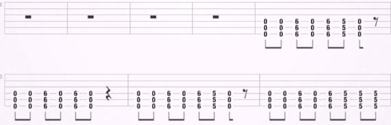 Основной рифф в песне Sonne группы Rammstein