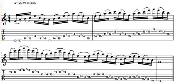 Табулатуры и ноты пассажей на гитаре