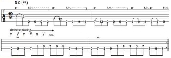 Сложный рифф для гитары, построенный на одиночных нотах