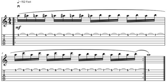 Табы и ноты легато на гитаре