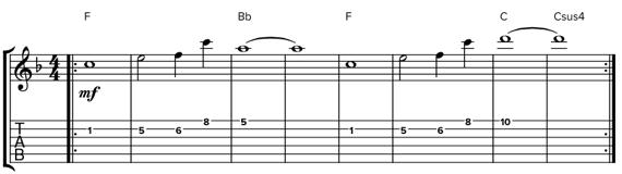 Мелодия из одиночных нот в мажорной тональности