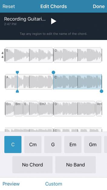 Исправление аккордов в Music Memos