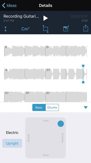 Изменить сложность и громкость барабанов Music Memos