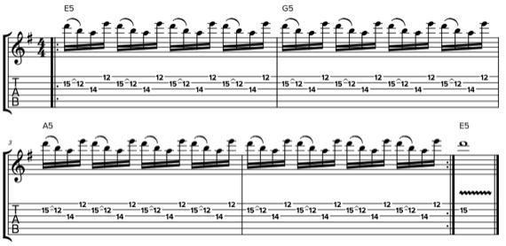 Быстрая четырехнотная фраза для электрогитары