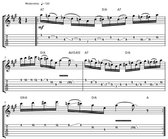 Блюзовая фраза на гитаре с хроматическими нотами