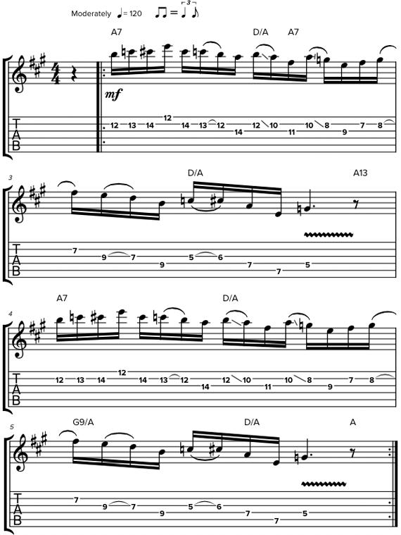 Фразы для гитары со сменой позиции