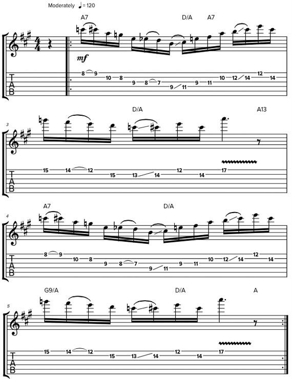 Игра пентатонической гаммы в различных позициях