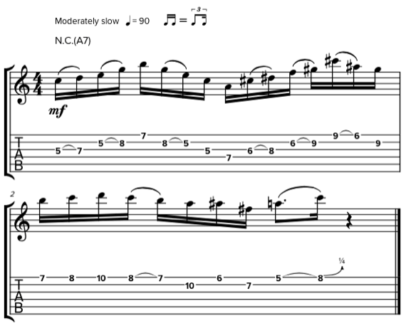 Табы и ноты упражнений Джона Скофилда