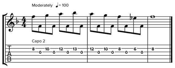 Мелодия через открытую струну