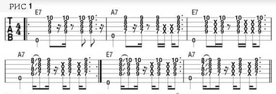 партия в седьмой и девятой позиции на гитаре