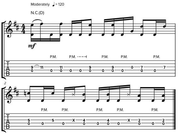 Сочетание с открытыми струнами на гитаре