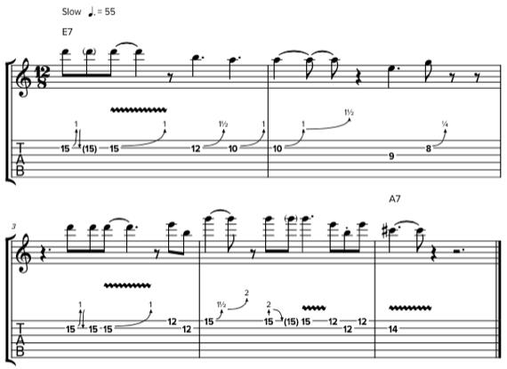 Блюз с акцентами нот при помощи ручки тона