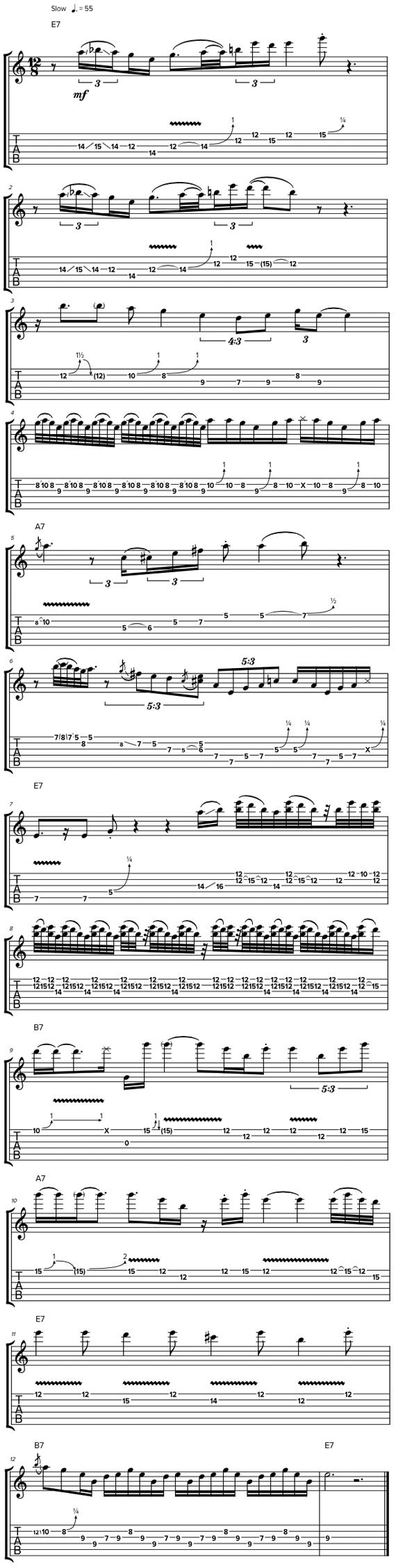 12-ти тактовое соло в стиле медленный блюз на электрогитаре
