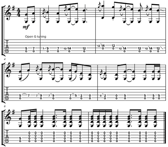 Рифф для акустики в стиле The Rolling Stones