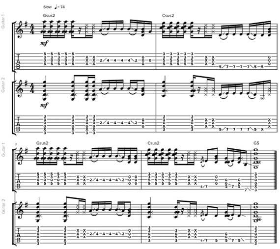 Играть в унисон на двух гитарах