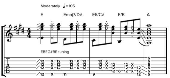 Играть аккорды слайдом