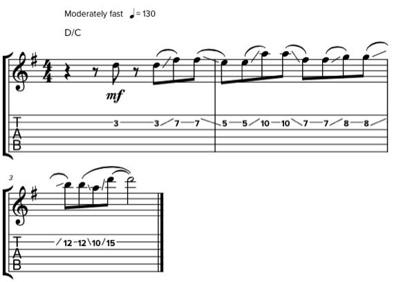 Гитарная фраза на второй струне при помощи слайда