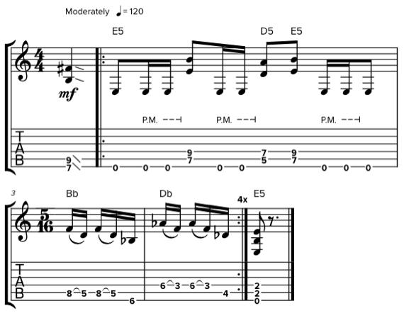 Ноты в размере 4/4 и 5/16 для гитары