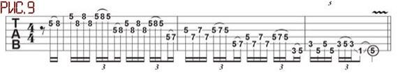 Скоростная фраза чикен пикингом на гитаре