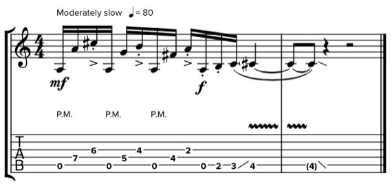 стаккато на гитаре ноты и табы